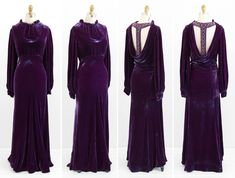 Evening Dress: ca. 1930's, custom-made (one-of-a-kind), silk velvet, bejeweled trim on back.