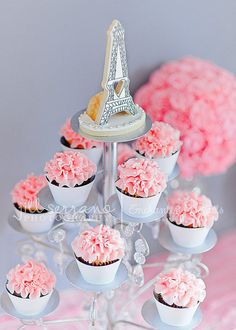 Pretty in Pink Cupcakes Tower