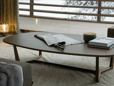 Low oval wooden coffee table for living room TRIDENTE by Poliform | design Emmanuel Gallina