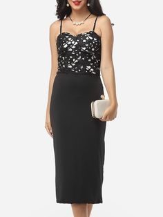 #Fashionmia - #Fashionmia Patchwork Sexy Spaghetti Strap Maxi-dress - AdoreWe.com