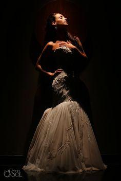 Stunning Mark Zunnino gown worn by bride Marissa at her Playa del Carmen Wedding at Paradisus La Perla.  Mexico wedding photographers Del Sol Photography