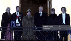 (L-R) Crown Princess Mette-Marit, Crown Prince Haakon, Queen Sonja of Norway, King Harald V, Princess Martha Louise and Ari Behn appear on the balcony of the Royal Palace February 24, 2007 in Oslo, Norway. Royals from all over Europe will visit Oslo over the weekend to take part in King Harald V of Norway?s Birthday celebrations who turned 70 on Wednesday.  (Photo by Chris Jackson/Getty Images)