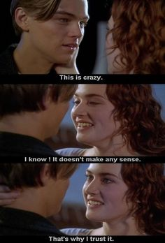 Rose (Kate Winslet) tells Jack (Leonardo DiCaprio) she's going with him once the ship docks in Titanic. Titanic Rose, Rms Titanic, Love Movie, Movie Tv, Titanic Movie Quotes, Leo And Kate, Young Leonardo Dicaprio, Movie Lines, Romance Movies