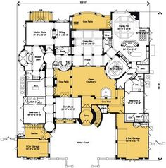 Plan The Best of The Best – home theater design layout Best Home Theater, Home Theater Design, Home Design Plans, Luxury House Plans, Dream House Plans, House Floor Plans, 5 Bedroom House Plans, Two Sided Fireplace, Courtyard House Plans