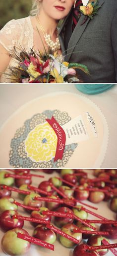 apple name tags and peacock feathers in your bouquet! prit x