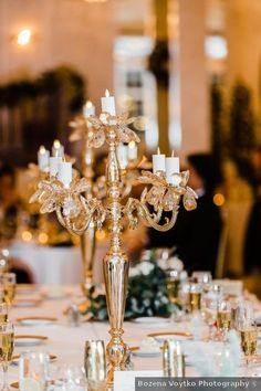 Wedding centerpiece ideas - gold, candles, white, elegant, winter {Bozena Voytko Photography}