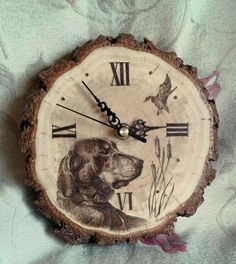 by AlgirdasPiroArt Wood Burning Crafts, Wood Burning Art, Wood Crafts, Wooden Clock, Wooden Art, Clock Painting, Painting On Wood, Handmade Wall Clocks, Cool Clocks