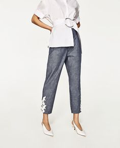 CHAMBRAY TROUSERS WITH CONTRASTING EMBROIDERY-NEW IN-WOMAN | ZARA United States