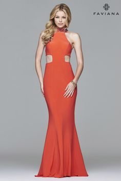 Jersey jewel neck evening dress with back strap details and side cut-outs. #Faviana Style 7728
