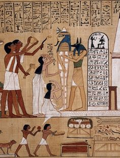 London, UK, British Museum. Illustration from the Book of Coming Forth by Day of Hunefer, depicting the Opening of the Mouth ceremony being performed on his mummy. It was believed that this ceremony would restore the faculties of the living to the would of the deceased. Image use: Creative commons.