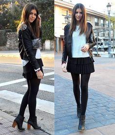 meia calça preta com saia preta