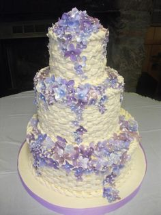 Tiered Basketweave Buttercream Wedding Cake with Gum Paste Hydrangeas