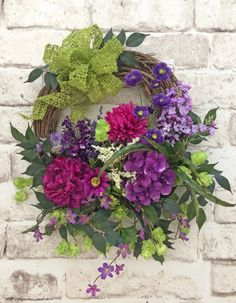 Purple and Lime Green Summer Wreath for Door, Front Door Wreath, Spring Wreath, Silk Floral Wreath, Grapevine Wreath, Outdoor Wreath, Door Decor for your Home, Wreath on Etsy, by Adorabella Wreaths!