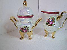 Vintage Yusui Victorian Couple Sugar And Creamer Set