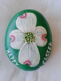 Easter gift/Garden stone/Dogwood flower/ paper weight/home decor/painted stone/rock art/yard art/bathroom decor on etsy