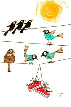 """Bird on a Wire"" First of the original paintings featuring in The Line Gallery,"