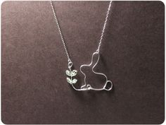 Reserved Rabbit and Seedling Necklace Sterling Silver by Boogiecat