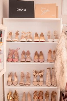 Pink Walk in Closet & Beauty Room Reveal Boutique Interior, Tall Drawers, Cube Storage Shelves, Vanity Room, Pink Sofa, Cute Room Decor, Glam Room, Gold Pillows, Pink Iphone