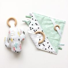 Cactus rattle and baby taggie blanket with wooden teething ring