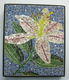 Stained Glass Mosaic Stargazer Lily Panel by windshop on Etsy, $75.00