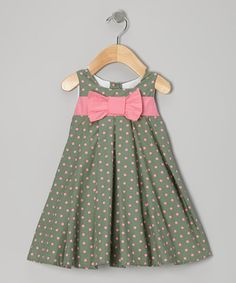 Take a look at this Light Green & Pink Polka Dot Dress - Infant & Toddler by Dress Up Dreams Boutique on #zulily today!