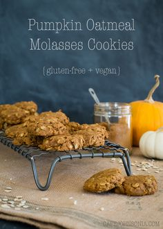 Pumpkin Oatmeal Molasses Cookies - gluten free & vegan too