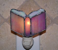 Prayer Book Stained Glass Night Light - Pink and White Iridescent - Authentic Stained Glass by StainedGlassJewels on Etsy Stained Glass Night Lights, Stained Glass Ornaments, Making Stained Glass, Making Glass, Stained Glass Suncatchers, Stained Glass Projects, Stained Glass Patterns, Stained Glass Art, Mosaic Glass