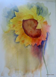 watercolour sunflower Watercolor Sunflower, Watercolour, Pastel, Artwork, Painting, Pen And Wash, Watercolor Painting, Cake, Work Of Art