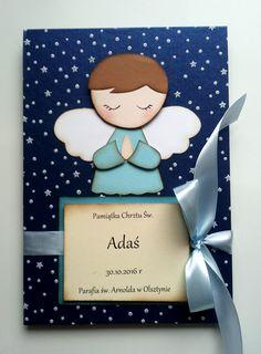 Ręcznie robiony album do zdjęć z okazji Chrztu Świętego dla małego aniołka. Leporello. Handmade photo album for little angel. Album for christening.