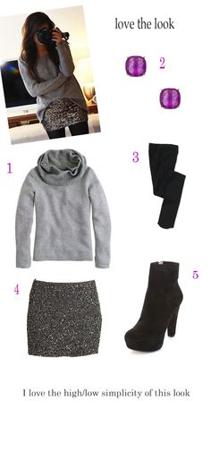 casual holiday look - grey baggy sweater paired with silver sequin skirt, black stockings and booties