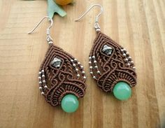 Gorgeous micro macrame earrings with two Aventurine beads and metal beads set in brown wax thread . The earrings are very light and comfortable to