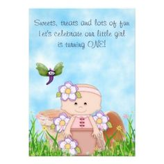 Cute Flower Pot 1st Birthday Party Invitations for Girls