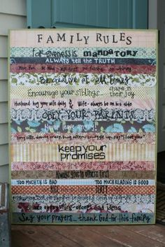 family rules ideas on canvas and scrapbook paper