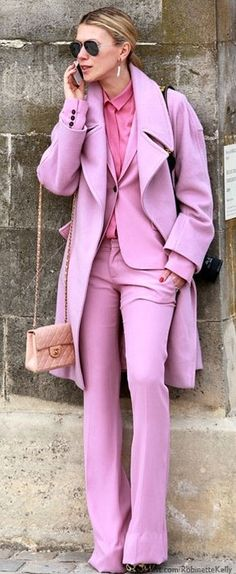 having a major pink moment. bonkers, pink power suit, pink suit and matching pink coat look, Pink Fashion, Love Fashion, Fashion Beauty, Fashion Details, Daily Fashion, Fashion Fashion, Fashion News, Fashion Women, Rosa Style