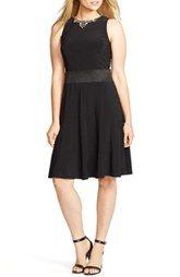 Lauren Ralph Lauren Embellished Neck Jersey Fit & Flare Dress (Plus Size)
