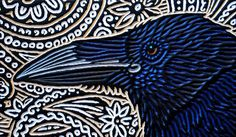 woodcut of a Raven by Lisa Brawn Crow Art, Raven Art, Bird Art, Raven And Wolf, Linoleum Block Printing, Crows Ravens, Rabe, Scratchboard, Foto Art
