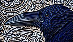 woodcut of a Raven by Lisa Brawn Crow Art, Raven Art, Bird Art, Raven And Wolf, Crows Ravens, Rabe, Scratchboard, Foto Art, Paperclay