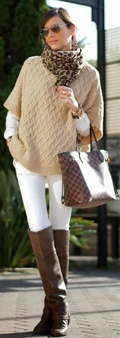 Love this neutral sweater with white pants, shirt and leopard scarf with brown boots.