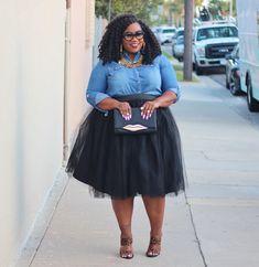 Denim shirt, tutu, and leopard heels. Plus-sized fashion