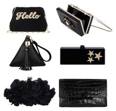 """Black purse collection"" by cliokastrinaki on Polyvore featuring Edie Parker, Vince, Noir, women's clothing, women's fashion, women, female, woman, misses and juniors"