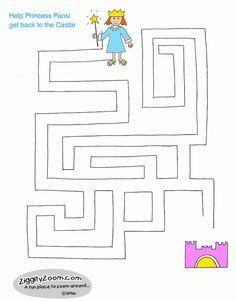 Werkblad : doolhof Princess Pansi Maze   Ziggity Zoom