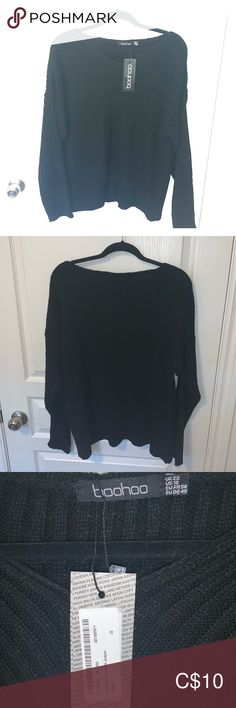 Knitted sweater with tag. US size 18 Boohoo knitted black sweater, US size 18 with tag. Never worn Boohoo Plus Sweaters Crew & Scoop Necks Black Sweaters, Sweaters For Women, Boohoo, 18th, Scoop Neck, Product Description, Closet, Things To Sell, Style