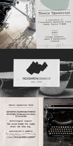 Thesis typewriter is a typewriter font and extras collection that includes 3 different typewriter fonts, paper textures, hand-painted shapes and vintage science graphics. This collection includes all that you need for authentic vintage designs and digital collages, but will also look great in modern logo design, in branding and packaging. The fonts are perfect for short quotes (in social media posts, for instance) and longer texts (such as recipes and blog posts). #typewriterfonts #fonts Branding Design, Logo Design, Graphic Design, Typewriter Fonts, Recipe Design, Creative Design, Web Design, Brush Font, Handwritten Fonts