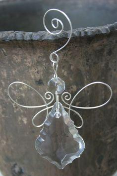 Crystal Angel Ornament Heart Ornament Scroll by KHerreraDesigns