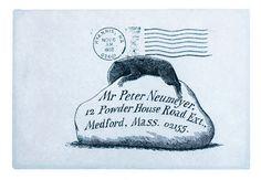 Edward Gorey illustrated envelope to Peter Neumeyer.