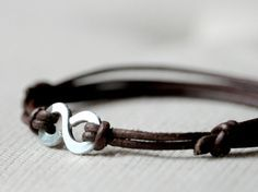 Mens Infinity Bracelet on Brown Leather