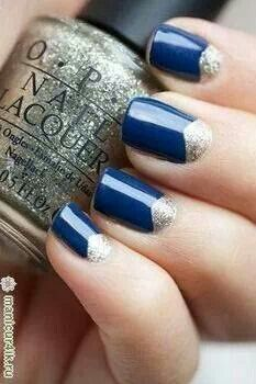 Dark blue with silver nails
