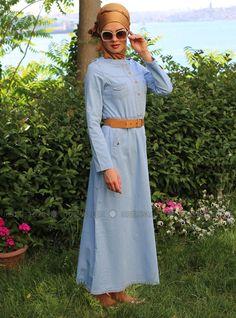 Kemerli Kot Elbise - Açık Mavi - Refka
