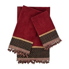 This three piece embellished decorative fashion towel set is a great addition to any bathroom decor. The towels are created from velour towel fabric with polyester band fabrics. It features and is ado Red Towels, Cotton Towels, Bathroom Red, Bathroom Towels, Master Bathroom, Bathroom Ideas, Best Bath Towels, Fingertip Towels, Personalized Towels