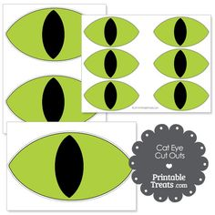 Printable Green Cat Eye Cut Outs from PrintableTreats.com